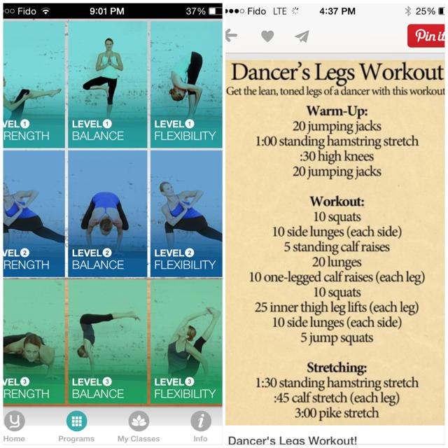 Yoga apps & dancers legs
