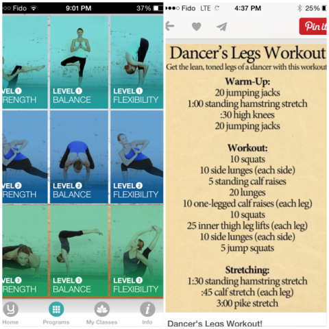 Yoga apps & dancers legs
